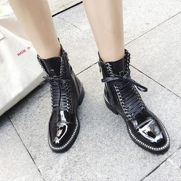 5da3fda4749 Femmes De Chunky Chaussures Cheville En D hiver Liée Verni Luxe Zapatos Noir  Talon Cuir Bottes Femme Croix ...