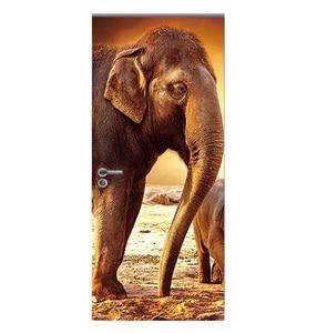 Image 3 - 도어 스티커 3d 기린 코끼리 호랑이 말 동물 거실 문 장식 포스터 방수 아트 벽지 침실