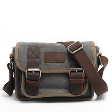 Men Canvas Messenger Bags Crazy Horse Leather Hot Sale Male Small Shoulder Bag Crossbody Bag For