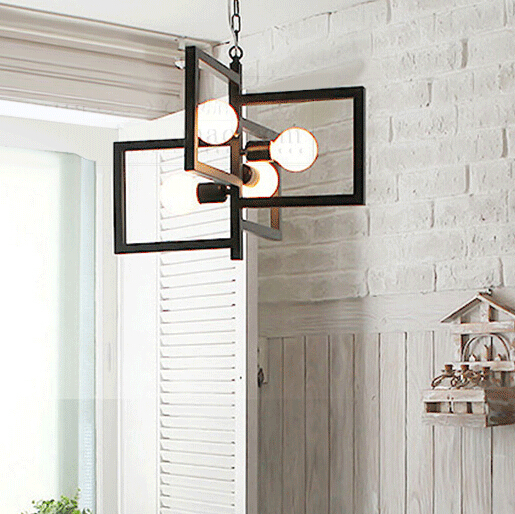 Industrial wind hanging lights Wind vane cord pendant lamp Indicator droplight iron Square vintage pendant lights enhanced windsock wind vane double frame skeleton