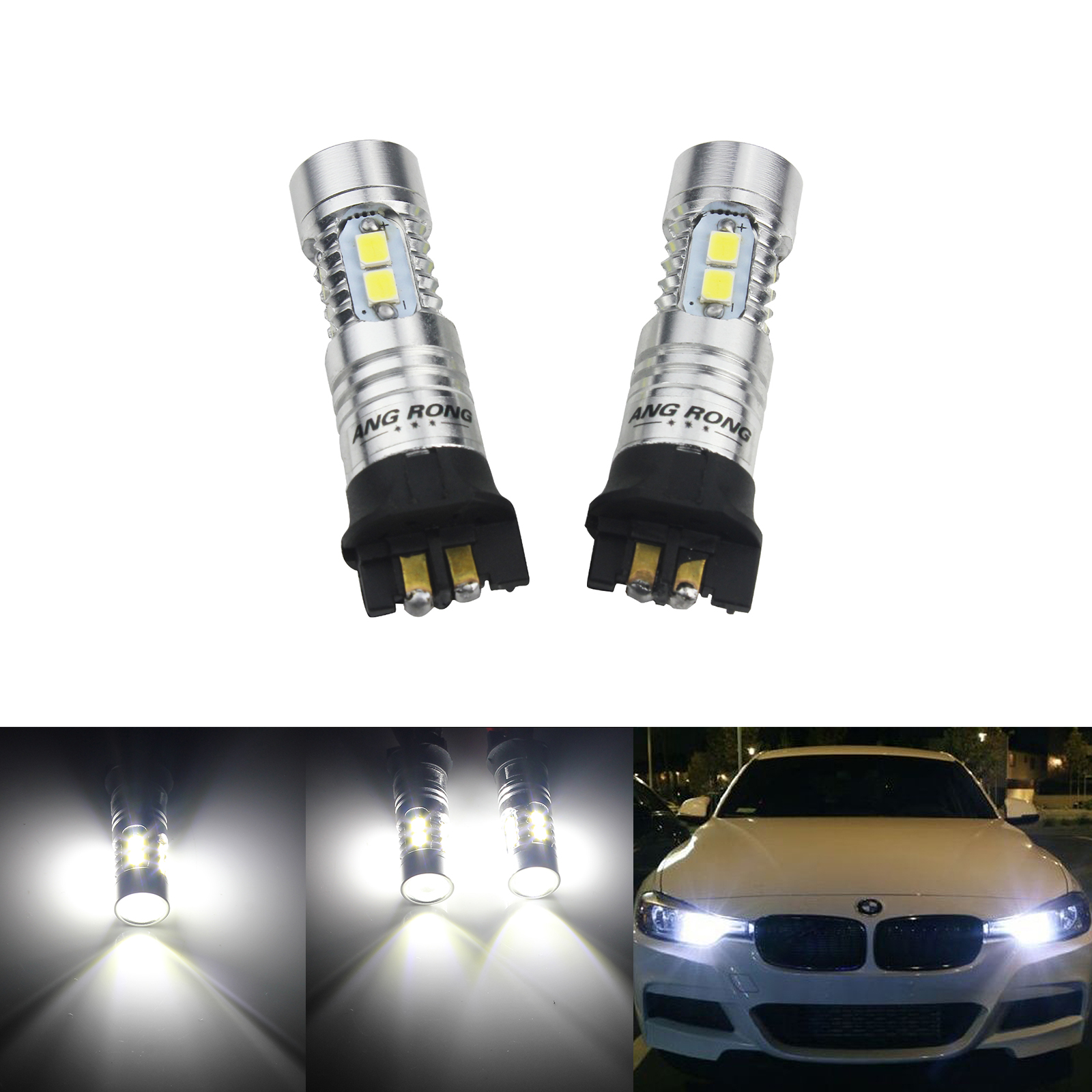 ANGRONG 2x Canbus PW24W PWY24W <font><b>LED</b></font> Light SMD For BMW 3 Series F30 <font><b>F31</b></font> F34 Audi A3 A4 A5 Q3 Ford Fusion VW Golf Passat CC image