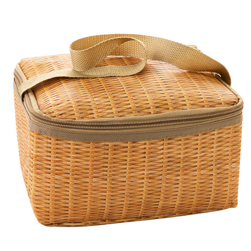 Portable Insulated Thermal Cooler <font><b>Lunch</b></font> <font><b>Box</b></font> for Kids Canvas Imitation Rattan Lunchbox Bag Food Container Bento <font><b>Box</b></font> for Picnic image
