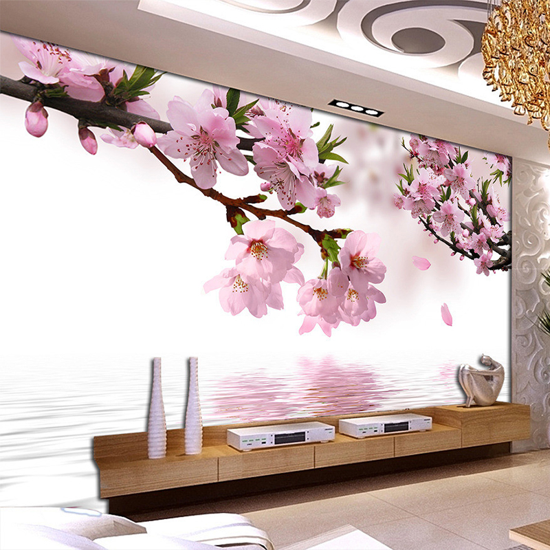 Romantic Peach Blossom Reflection Photo Mural Wallpaper Dining Room Living Room Home Decor Non-Woven Papel De Parede Floral 3D