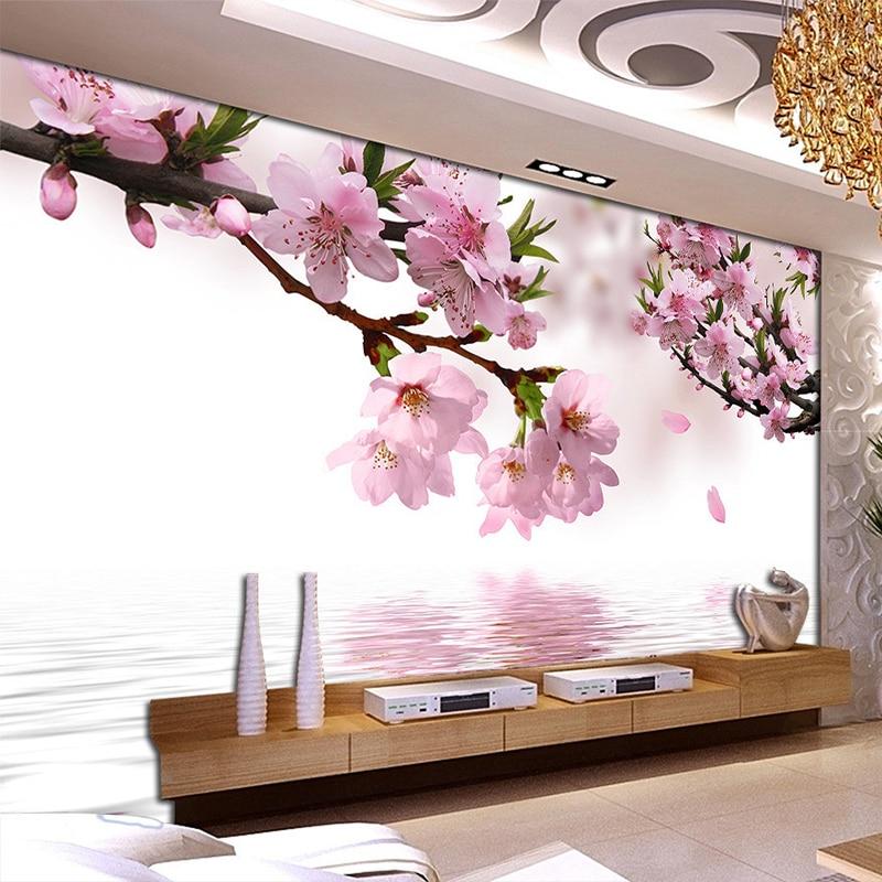 Romantic Peach Blossom Reflection Photo Mural Wallpaper Dining Room Living Room Home Decor Non-Woven Papel De Parede Floral 3D