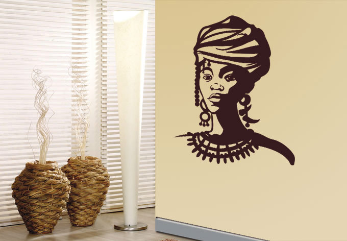 African Woman Wall Sticker decor sticker Wall Art Decal Home Decoration Wall  Poster(China (