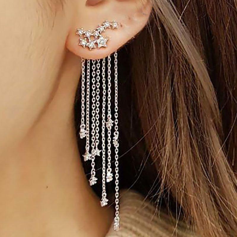 Boucles d/'oreilles Shooting crystal bling star strass long glands Goutte Crochet