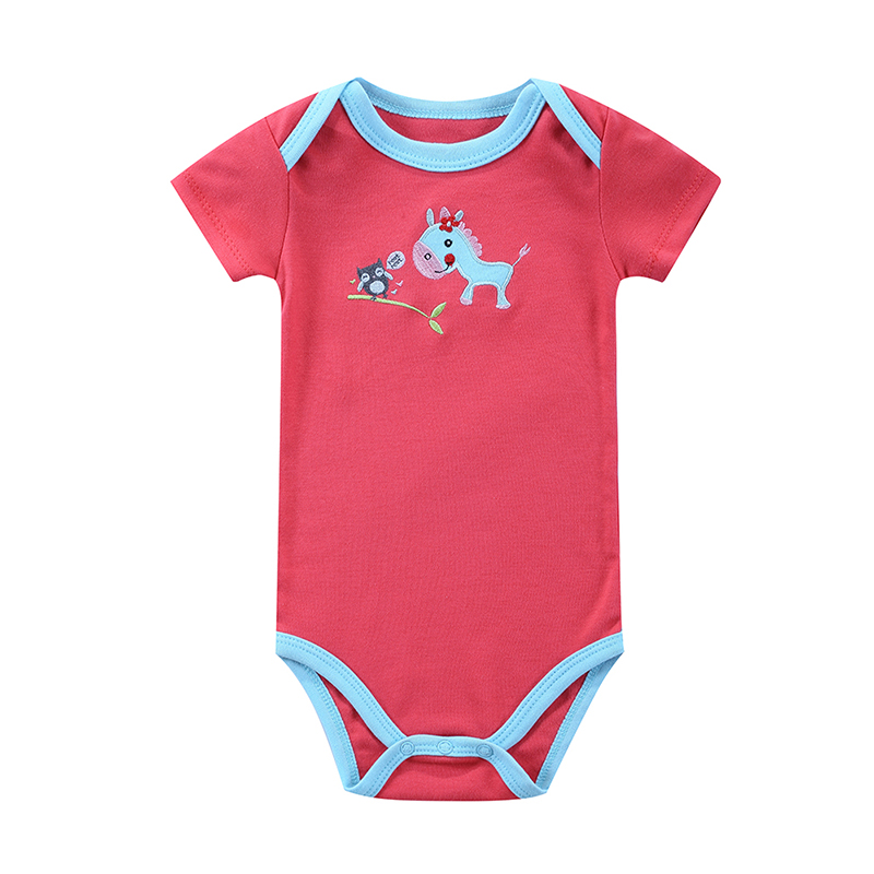 2016 Newborn Baby Rompers Clothes Cute Cartoon Baby Short Sleeve One-piece jumpsuit Baby Girl Romper Infant Clothing Ropa Bebe 2017 summer baby rompers tuxedo shortall jumpsuit bebe clothing two piece set vest bowtie baby braces rompers kid clothes