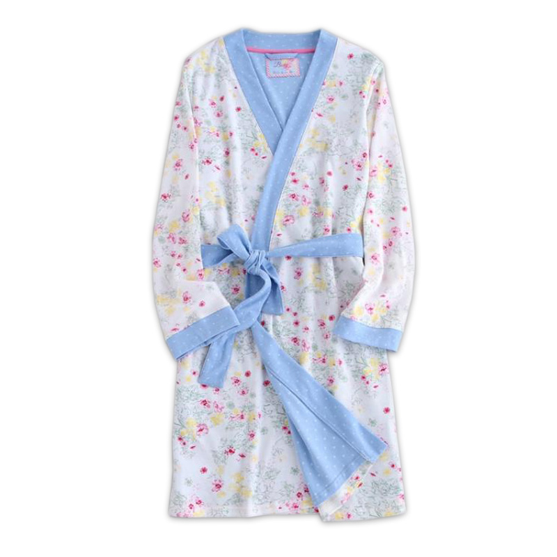 Thicken fresh long sleeves robes for women Autumn bathrobes dressing gown delicate floral women robes Organic ecological cotton