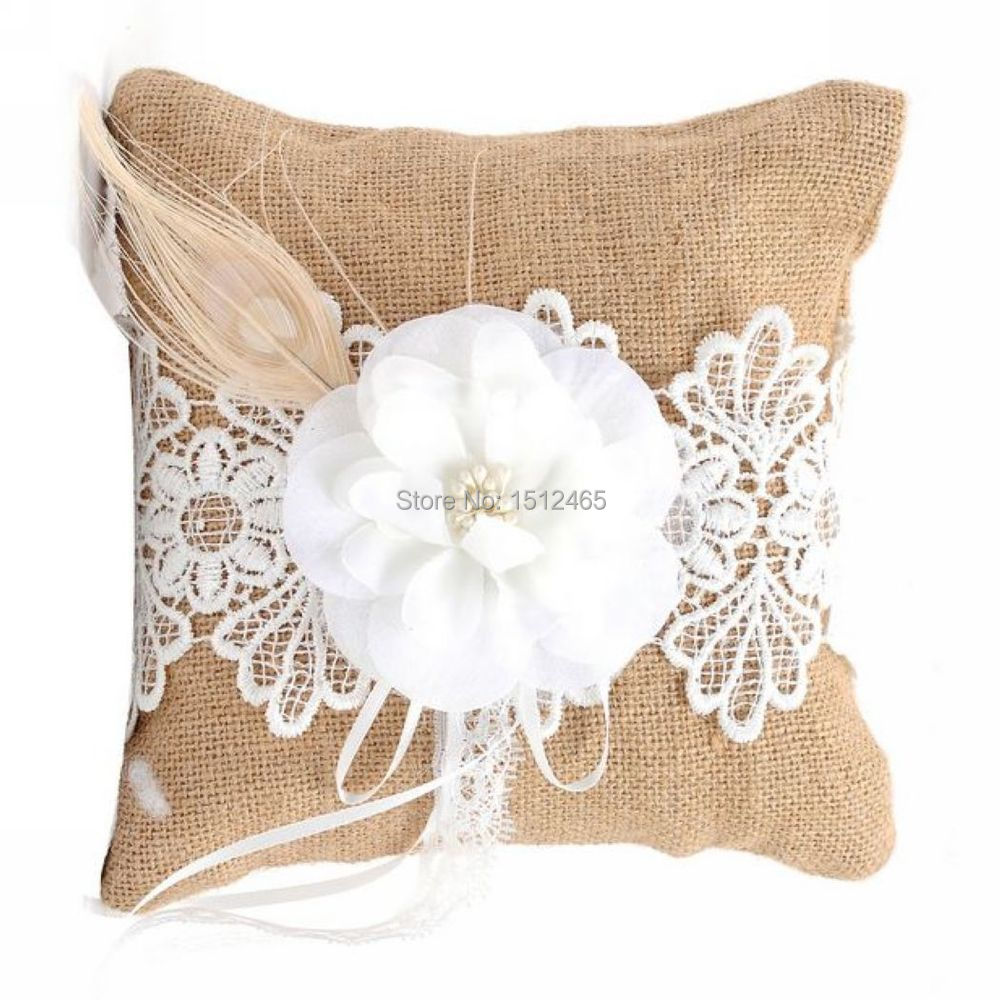 pearl ring satin wedding pillow embroidery square