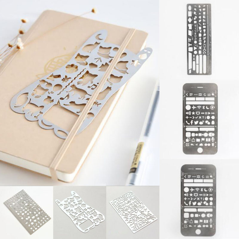 Vintage Portable Stainless Steel Stencils Hollow Ruler Planner Travel Diary Notebook Diy Tool Template Gift Stationery