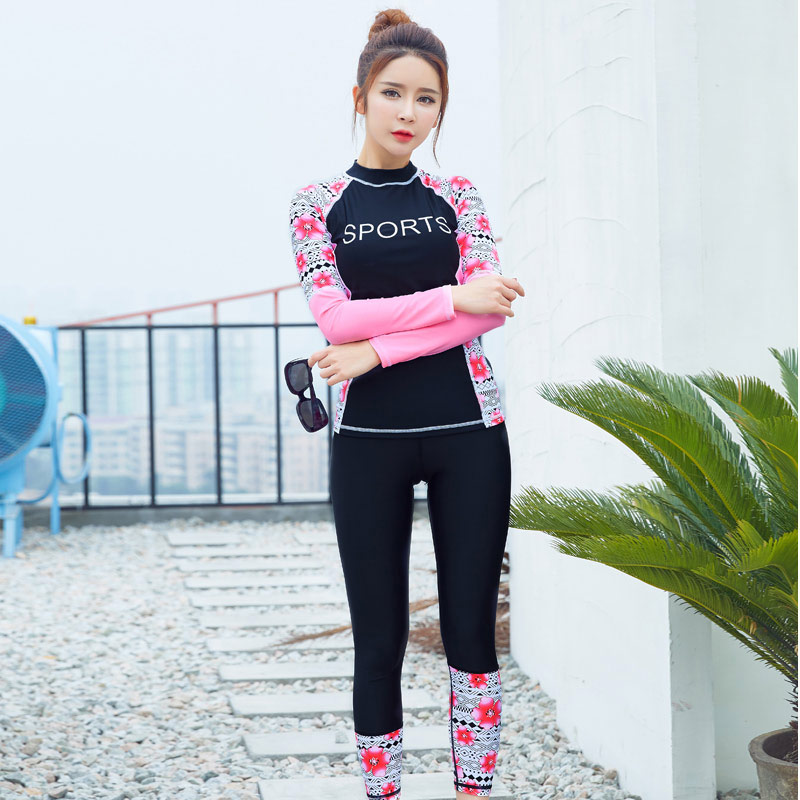 Female Full Body Swimsuit font b Women s b font Long Sleeve Swimwear Surfing Swimming Suit