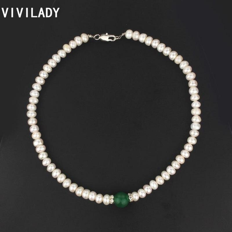 84b7c55236a5 Vivilady moda 16 pulgadas 100% perlas de agua dulce blanco natural Collares  mujeres piedra Cuentas joyas ol estilo partido Navidad regalos