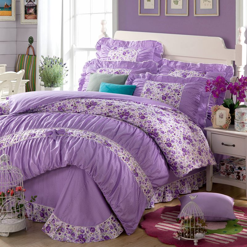 yadidi 100 cotton girls princess purple bedding sets bedroom bed duvet cover twin full queen king size bedsheet pillowcase - Purple Comforters