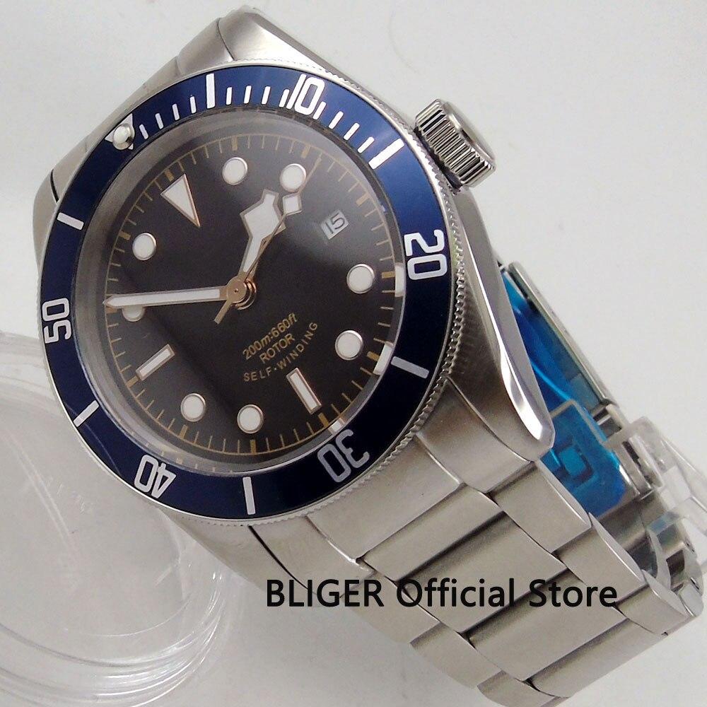 الياقوت الكريستال 41 مللي متر الأسود العقيمة الهاتفي الأزرق مدي بالتناوب 20ATM للماء التلقائي حركة ساعة رجالي-في الساعات الميكانيكية من ساعات اليد على  مجموعة 1