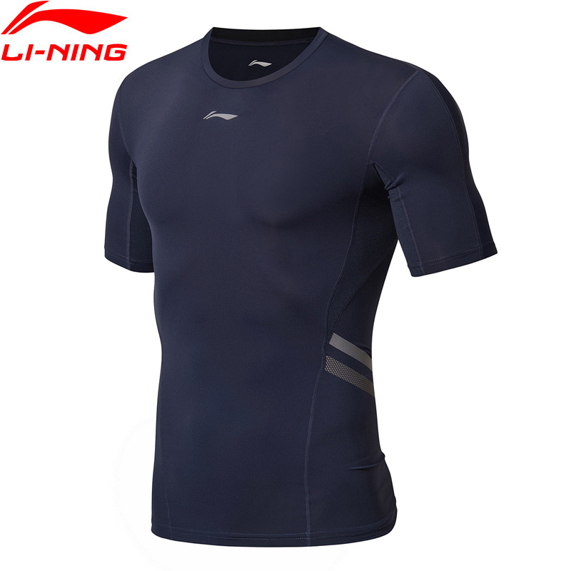 Li-Ning мужские тренировочные серии колготок базовый слой дышащая футболка плотная посадка подкладка удобные спортивные футболки AUDN093 MTS2864