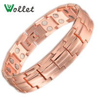Wollet 2017 Fashion Red Copper Magnetic Bio Energy Double Row Magnet Solid Copper Bracelets For