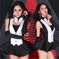 Jerry 2015 mujeres danza Jazz traje uniforme de sirvienta discoteca DS vestuario cantante femenina traje de la danza