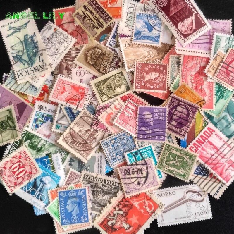 Image 5 - 100 pçs/lote todos os diferentes antigos/vintage selos postais  marca com pós marca, sem repetição timbres selospostage stampsstamp  brandsvintage postage stamps