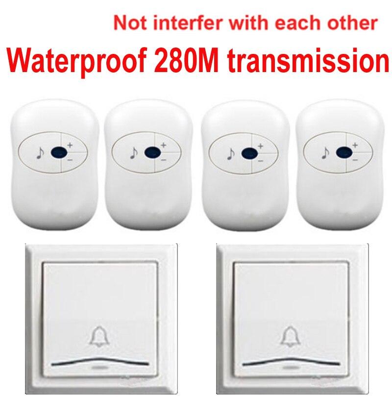 2 emitters 4 receivers doorbell Waterproof 280m work wireless doorbell wireless door chime wireless bell 36