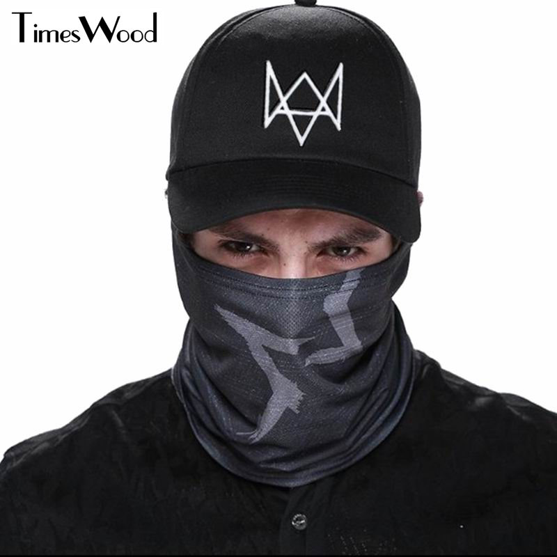 [TIMESWOOD] 2pc/Set Creative Watch Dogs Aiden Face MASK Cap Cotton Hat Costume Cosplay Mask Hat Men Women Tactique Baseball Caps halloween skeleton style cosplay costume face mask gloves set black white