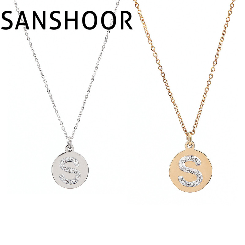 1pcs high quality stainless steel round tiny initial letter s necklace personalized charm pendant with link