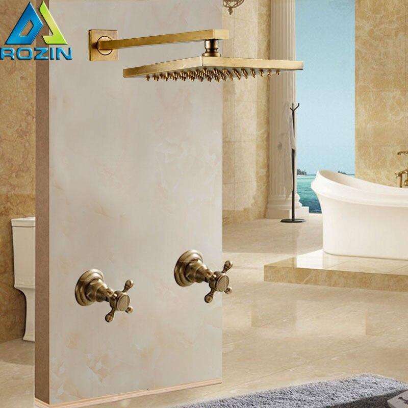Brass Antique Dual Cross Handles Shower Faucet Tap 8 inch Rainfall Shower Head Rain Shower Mixers