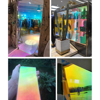 1.37x30m/54''x100ft Building Decorative Privacy Self Adhesive Window Film Chameleon Vinyl Rainbow Laser Stickers Party Decor