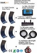Solarparts Стандартных Наборов 500 Вт DIY RV/Лодки Комплекты Солнечная Система 100 Вт гибкие солнечные панели + контроллер + кабельное открытый свет светодиодный модуль.