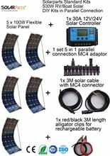 Sistema de Energia Flexível plus Controlador LUZ ao AR Solarparts Padrão Kits 500 W DIY Rv e barco Solar 100 Painel plus Cabo Livre Levou Módulo.