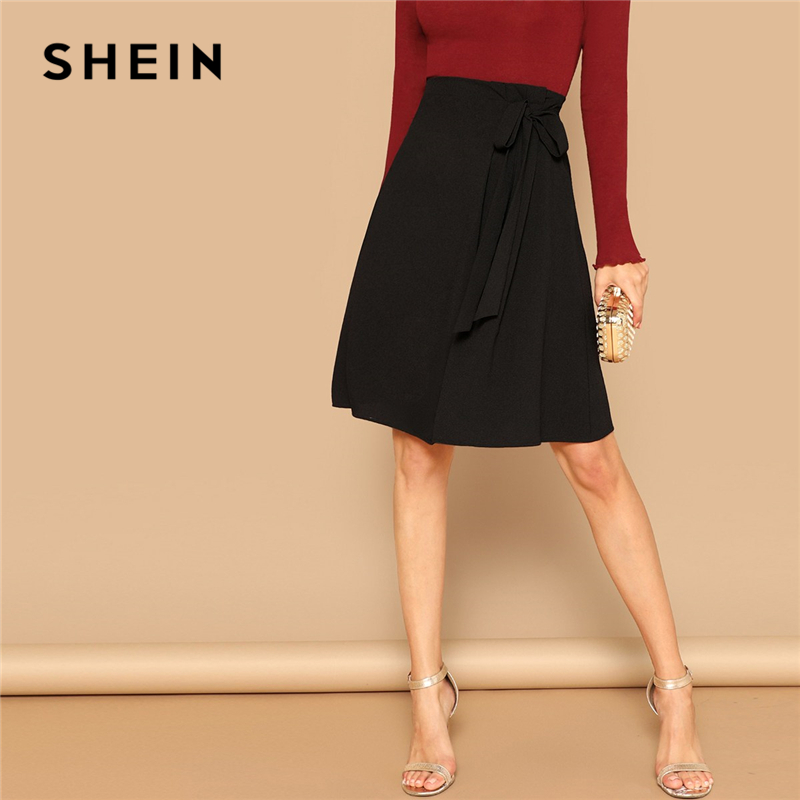 SHEIN Black Knot Side Solid High Waist A Line Knee-Length Skirt Women Office Lady Spring 2019 Summer Elegant Workwear Skirts