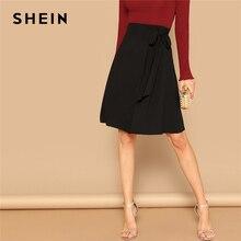 SHEIN noir noeud côté solide taille haute une ligne genou longueur jupe femmes bureau dame printemps 2019 été jupes de vêtements de travail élégantes