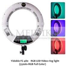 Yidoblo FC 480 Ayarlamak Moda RGB LED halka ışık 480 LED Video Makyaj Lambası Fotoğraf Stüdyo yayını Işık + 2 M standı + çanta