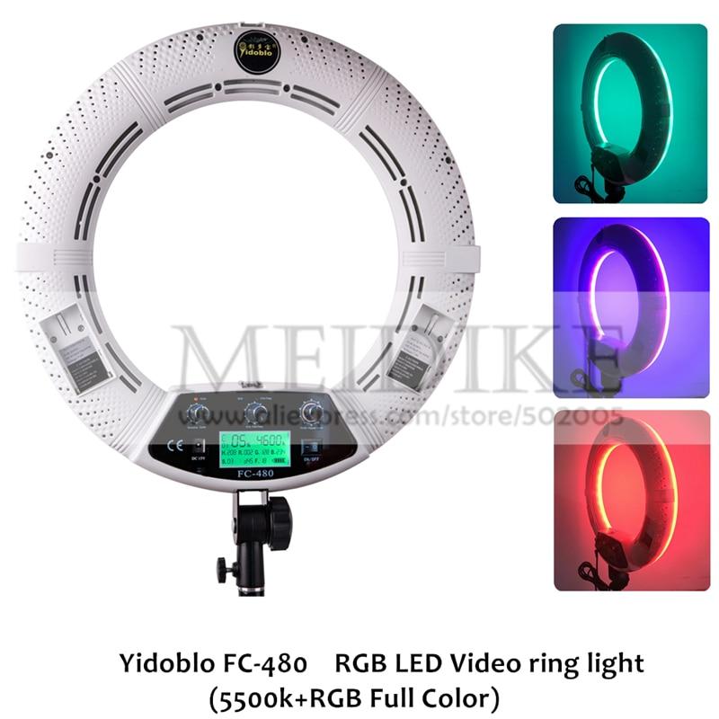 Yidoblo FC 480 Отрегулируйте модный RGB светодиодный кольцевой светильник 480 светодиодный видео макияж Лампа Фотостудия вещательный светильник + 2 м стойка + сумка
