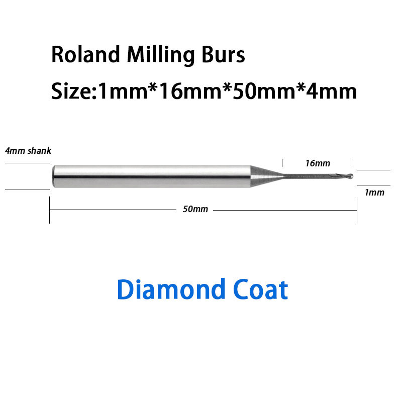 1.0mm Ball High Quality Roland D30, D50, 51D Cad/Cam Dental Carbide Milling Burs 5pcs 2 0mm dental imes icore cad cam diamond coated burs