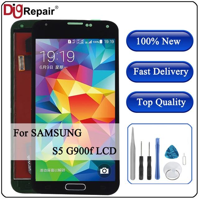 G900f شاشات LCD لسامسونج غالاكسي S5 lcd G900M G900A G900T G900FD شاشة الكريستال السائل محول الأرقام بشاشة تعمل بلمس لسامسونج s5 LCD زر