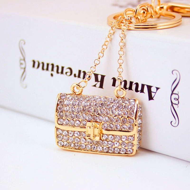 Creative Full Rhinestone Handbag Keychains Car Key Chains Brand Women Bag Charm Pendant Fashion Keyrings Key Rings