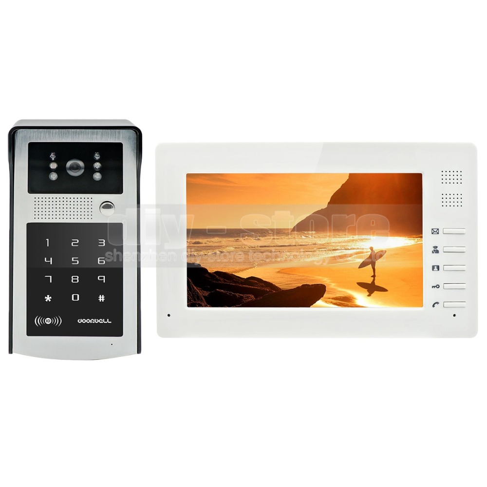 DIYSECUR 1024 x 600 7 inch HD TFT Color LCD Monitor Video Door Phone Video Intercom Doorbell 300000 Pixels Night Vision Camera hot sale tft monitor lcd color 7 inch video door phone doorbell home security door intercom with night vision