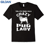 GILDAN Brand Cotton Men Clothing Male Slim Fit T Shirt I M A Crazy Pug Lady