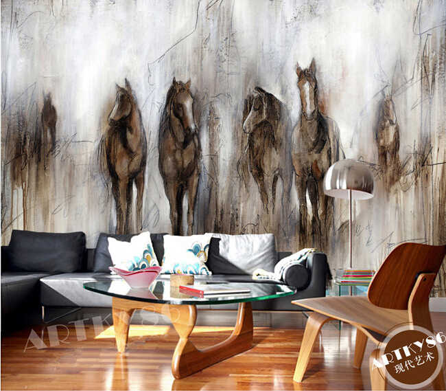 Custom  horse wallpaper,retro abstract horse painting for the living room bedroom TV wall waterproof silk cloth papel de parede