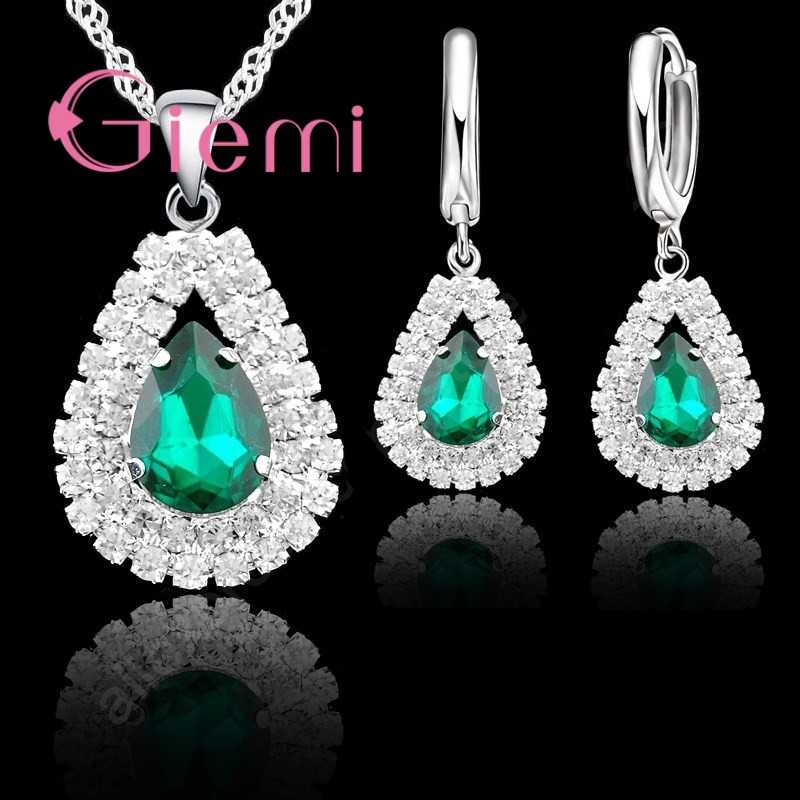 Water Drop Pendant Necklace Earrings for Women Gifts Sparkling 925 Sterling Silver 5A Grade Austrian Crystal Jewelry Set