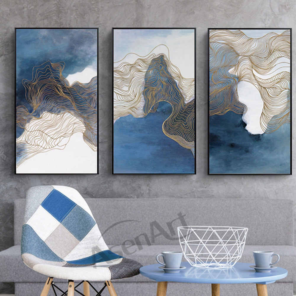 Blue Simple Lines 3Pieces Modern Pictures Art Canvas Abstract Painting Wall Print Poster for LivingRoom Office Home Decor Framed
