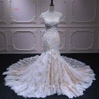 Dream Angel Sexy Illusion Lace Mermaid Wedding Dresses 2018 Appliques Beaded Flowers Boho Bride Dress Robe