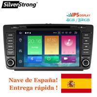 SilverStrong IPS Car 2din Octavia Android8.0 9.0 8inch CAR DVD for Skoda Octavia 2 A5 DSP with 4G+32G CANBUS Octavia2 DAB+ OBD