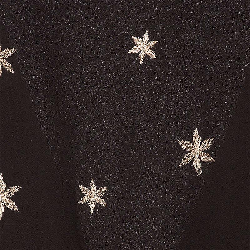 HYH HAOYIHUI женское шифоновое черное платье с вышивкой со звездами, с длинными расклешенными рукавами и оборками, с v-образным вырезом, ТРАПЕЦИЕВИДНОЕ мини-платье