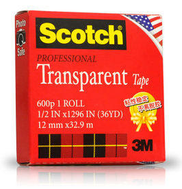 1x 3M Scotch 600p Professional Transparent Tape for Wrapping, Sealing, Mending, Non Self Stick (12mm x32.9mm) waterproof seam sealing tape roll satellite self amalgamating rubber sealing tape sealing cable repair lead