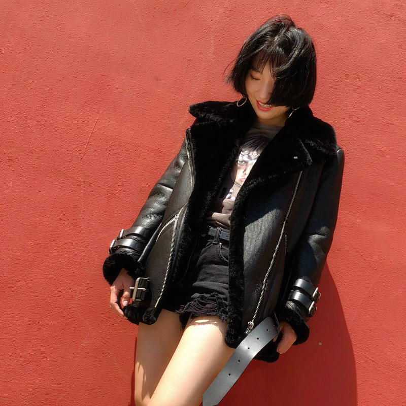 Ei bawn inverno 2019 jaquetas de couro genuíno preto curto shearling casaco jaqueta moto grosso cordeiro quente pele ovelha inverno casaco