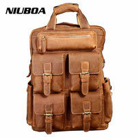 NIUBOA 100% Genuine Leather Men Backapck Quality Real Leather Bag Multi Function Crazy Horse Pockets Business Laptop Backpack