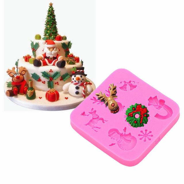 gadgets fondant molds christmas silicone mold ornament candy cane snowman sleigh silicone mold