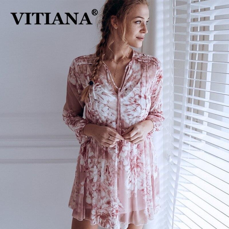 VITIANA Women Loose Chiffon Beach Dress Cool Summer 2019 Female Mesh Through Print Princess Mini Dresses Ladies Casual Sundress