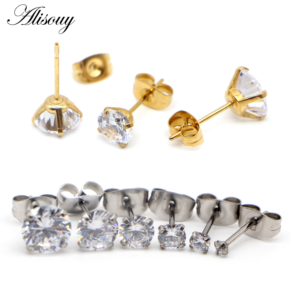 2-8mm Small Gold Silver Color Earrings Stone CZ Crystal Ear Studs Surgical Steel Cubic Zirconia Helix Earring Women Accessories